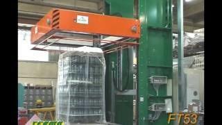 Процесс автоматической упаковки стекла бутылок на конвейере обоудование компании OMS Italy