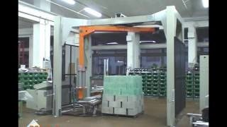 Тест упаковка блоков в стретч пленку на оборудовании OMS AV750