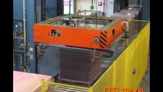 Работа термоусадочной машины OMS FT53 по упаковке паллет стекла бутылок